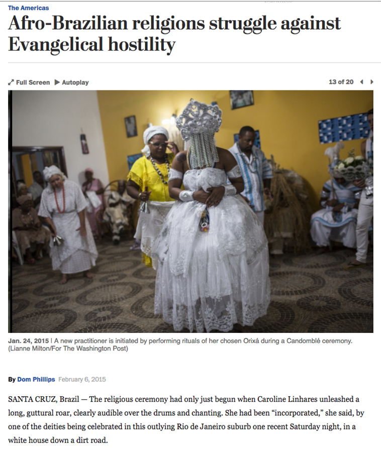 Against Evangelical hostilityFor The Washington Post in Rio de JaneiroPublished: February 6, 2015