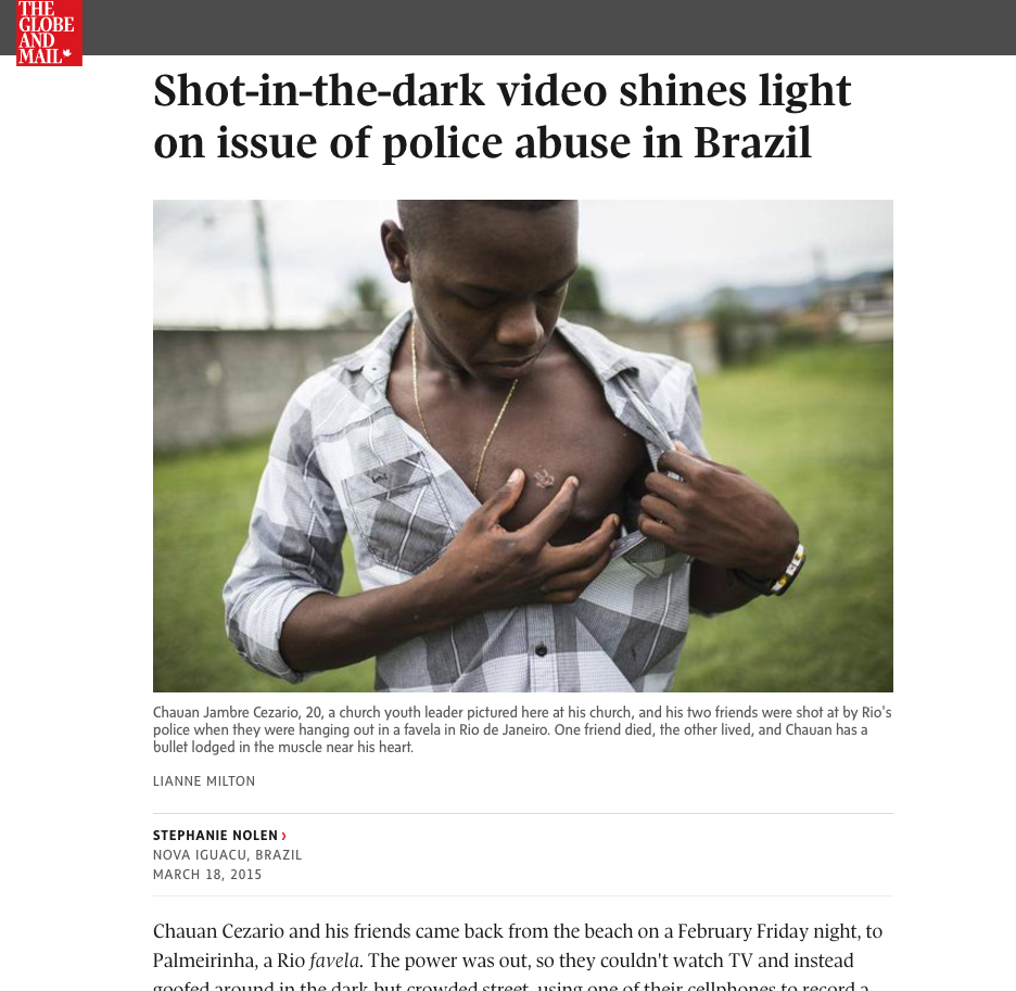 police abuse in BrazilFor The Globe and News in Rio de JaneiroPublished: March 18, 2015