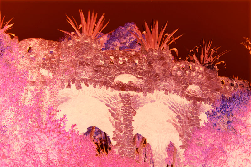 Ilfochrome print - Ed. 2 + 1APMounted face-in 1/4{quote} Plexiglas122 x 183 cm (48 x 72 {quote})This detail of the Parque Guell is an exterior view of Cave. Gaudi's use of spiked agaches to crown the structure is an example of the architect's integration of natural elements into his architecture.