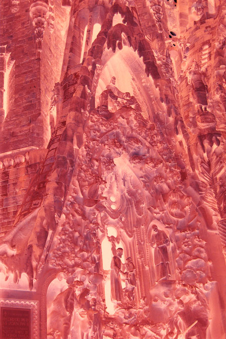 Ilfochrome print - Ed. 2 + 1APMounted face-in 1/4{quote} Plexiglas183 x 122 cm (72 x 48 {quote})This detail of the facade of the Sagrada Familia captures moments in the Bible. Jesus stands at the apex of the composition, under a canopy of light.
