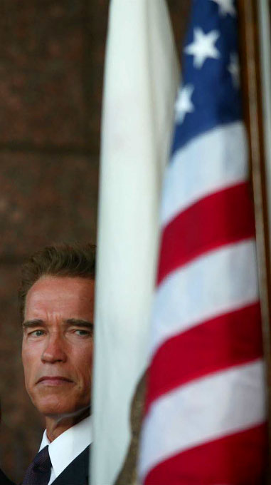 Governor Arnold Schwarzenegger at a memorial sevice in Los Angeles