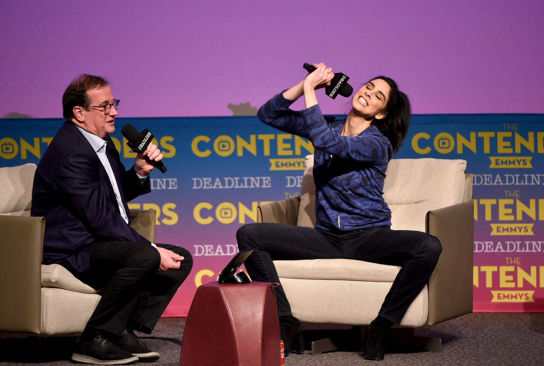 Mandatory Credit: Photo by Stewart Cook/Deadline/REX/Shutterstock (9629834c)Sarah Silverman and Pete HammondHulu 'I Love You, America' presentation, The Contenders Emmys presented by Deadline Hollywood, Los Angeles, USA - 15 Apr 2018