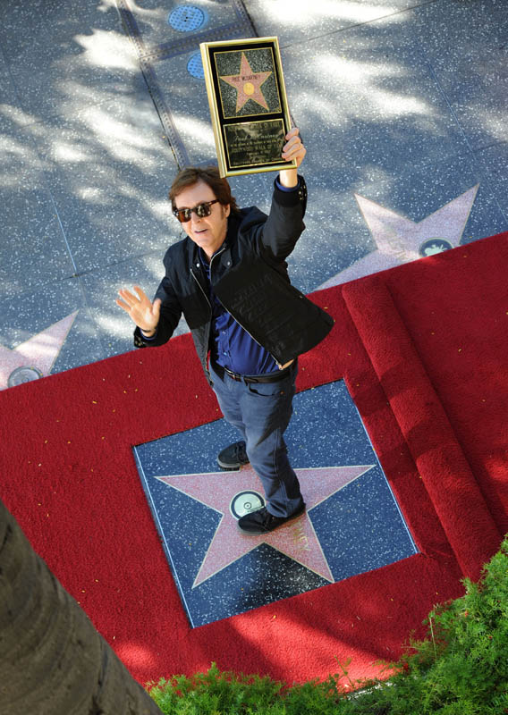 Paul McCartney, the last Beatle to get a star on the Hollywood Walk of Fame
