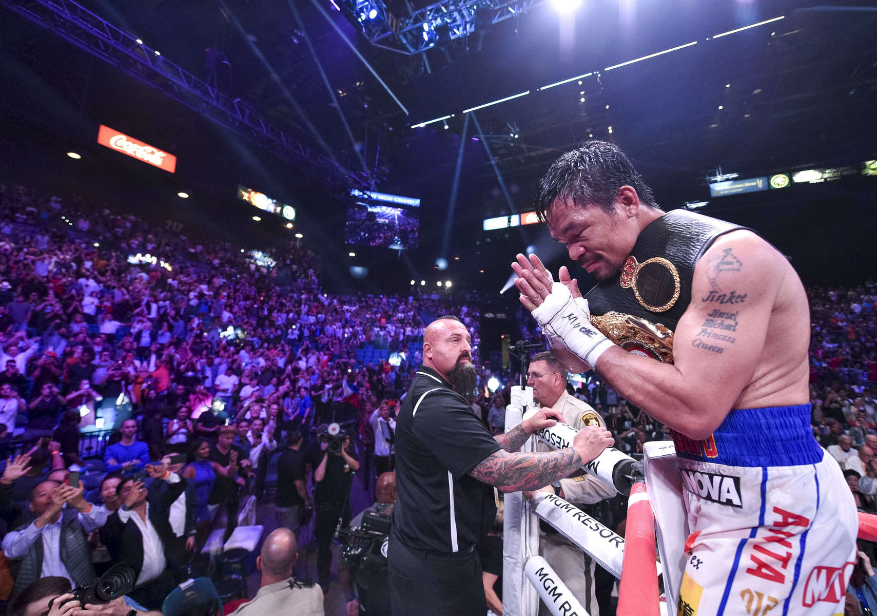 LAS VEGAS - JULY 20: Manny Pacquiao celebrates his victory over Keith Thurman during the FOX Sports PBC Pay-Per-View and PBC on Fox Fight Night at the MGM Grand Garden Arena on July 20, 2019 in Las Vegas, Nevada. (Photo by Stewart Cook/Fox Sports/PictureGroup)