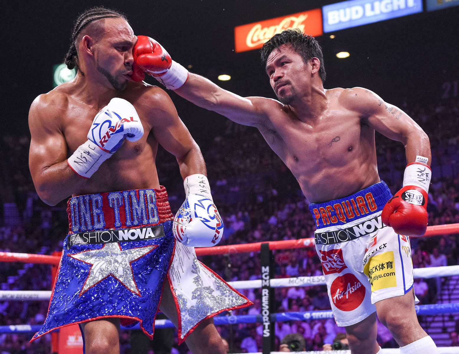 LAS VEGAS - JULY 20: Manny Pacquiao connects on Keith Thurman during the FOX Sports PBC Pay-Per-View and PBC on Fox Fight Night at the MGM Grand Garden Arena on July 20, 2019 in Las Vegas, Nevada. (Photo by Stewart Cook/Fox Sports/PictureGroup)