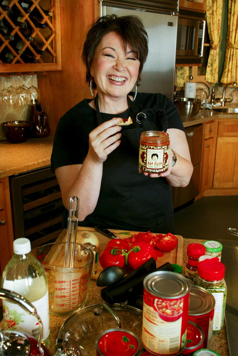 Pic © Stewart Cook    10-29-02   310 877 9155Roseanne barr at her state of the art studio in El Segundo, CA. She is promoting a new sauce with her ex husband's wife Betty (check name with Alan Smith )