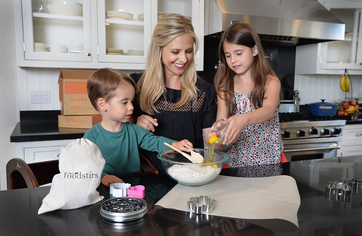 Sarah and family cooking with Foodstirs.