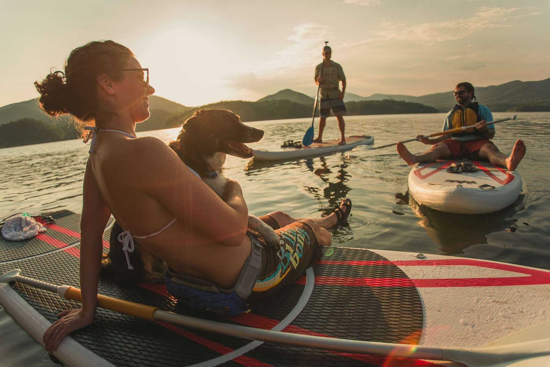 Relaxing after a paddle board session on a lake outside Roanoke, Va.