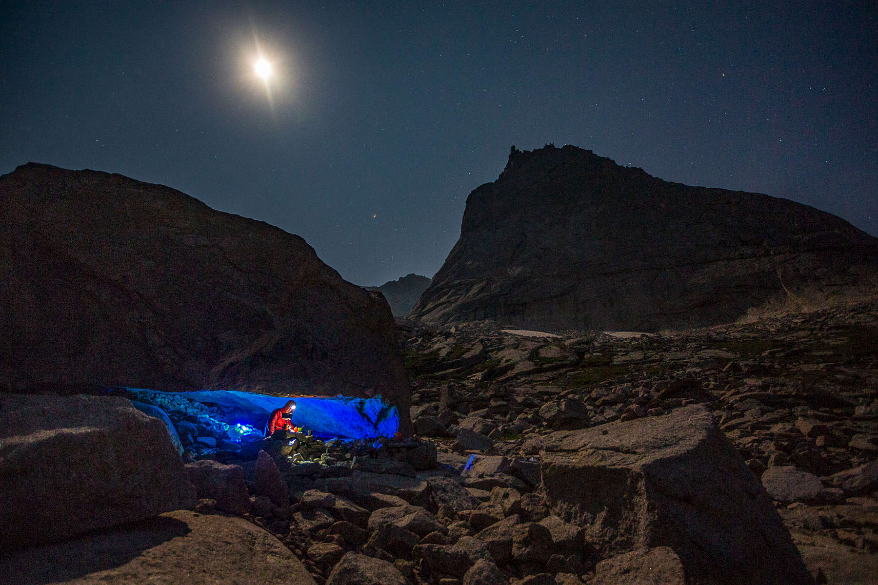 man camping in rcky mountain national park