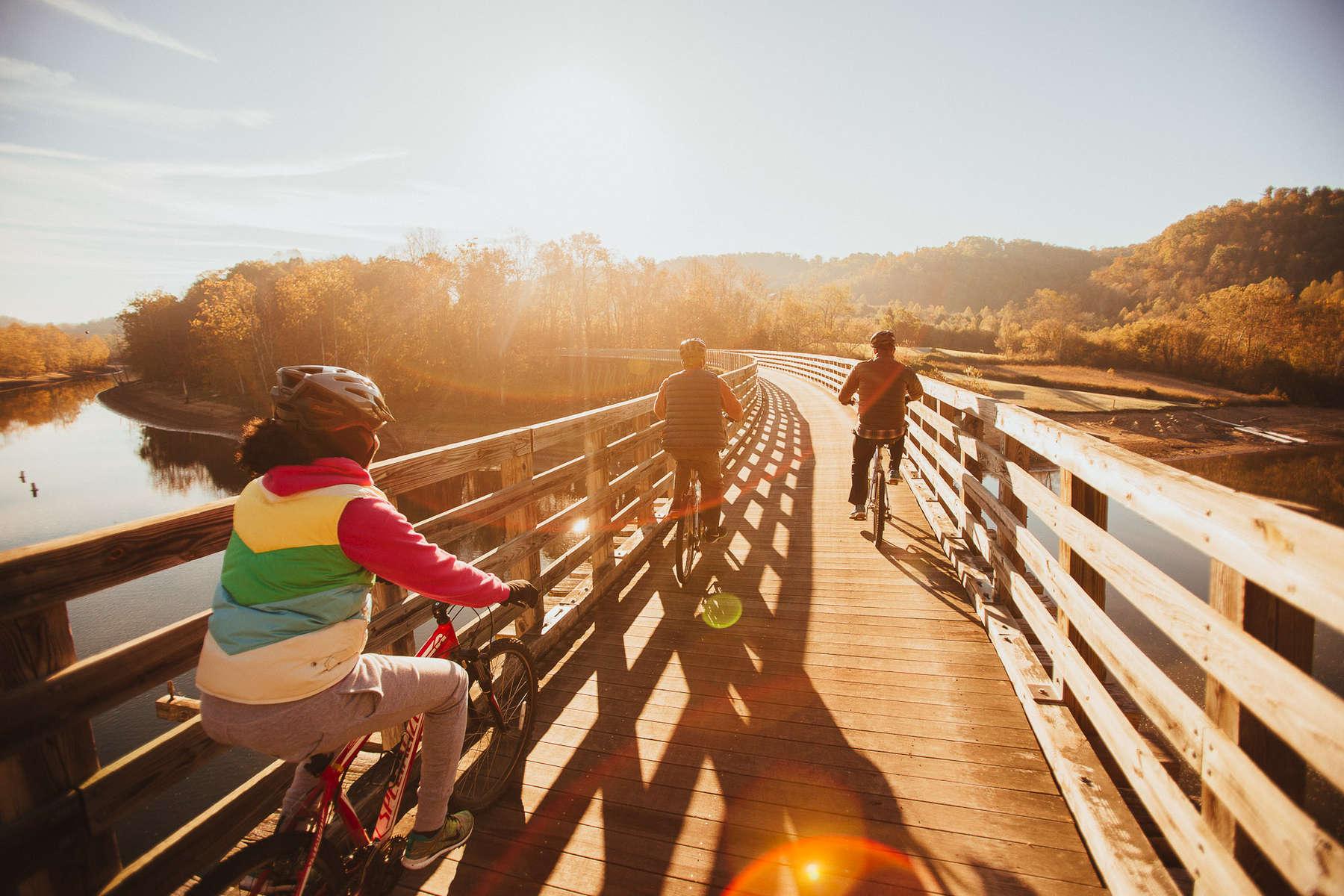 biking on the Virginia creeper trail