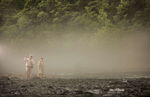 Patrick and Meredith Sessoms cast in the Watauga River in Western North Carolina.