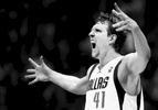 DALLAS, TX - APRIL 12:   (EDITORS NOTE: Image has been converted to black and white.) Dirk Nowitzki #41 of the Dallas Mavericks reacts after making a three point shot against the Phoenix Suns in the third quarter at American Airlines Center on April 12, 2014 in Dallas, Texas.  (Photo by Tom Pennington/Getty Images)