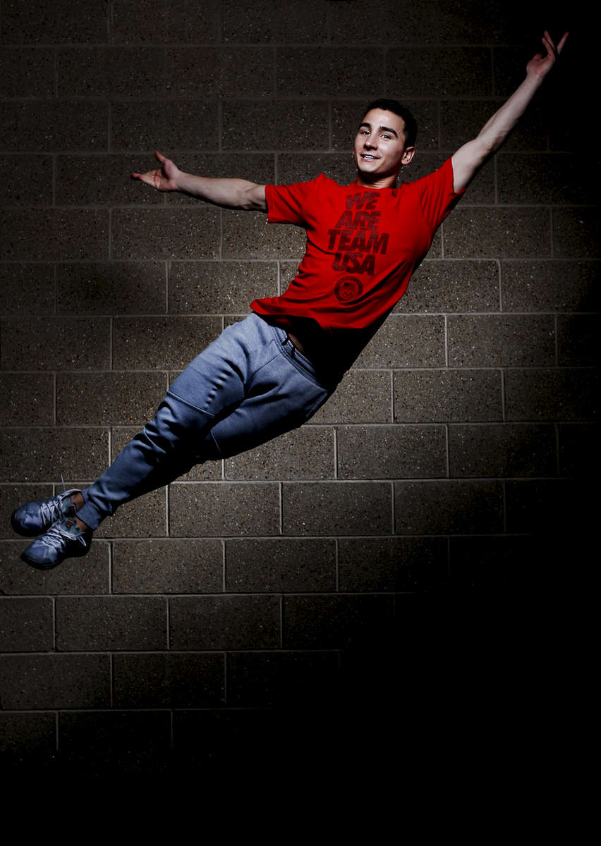 Figure skater Max Aaron poses during the USOC portrait shoot at the United States Olympic Training Center on May 14, 2015 in Colorado Springs, Colorado.