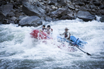 River guide Ian Havlik and clients Juju and Mason Chang taking an early morning run through Alder Creek Rapid 2013.