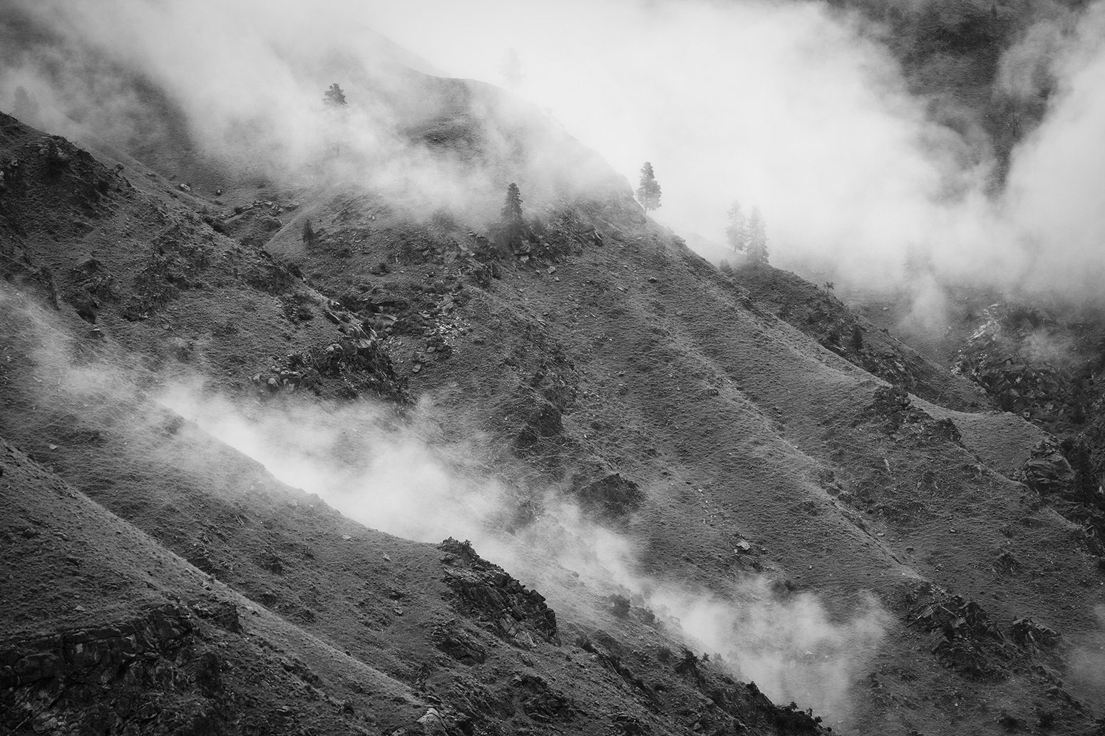 Mountain mist high above the lower strtetches of the River of No Return during the epic rains of spring 2010.