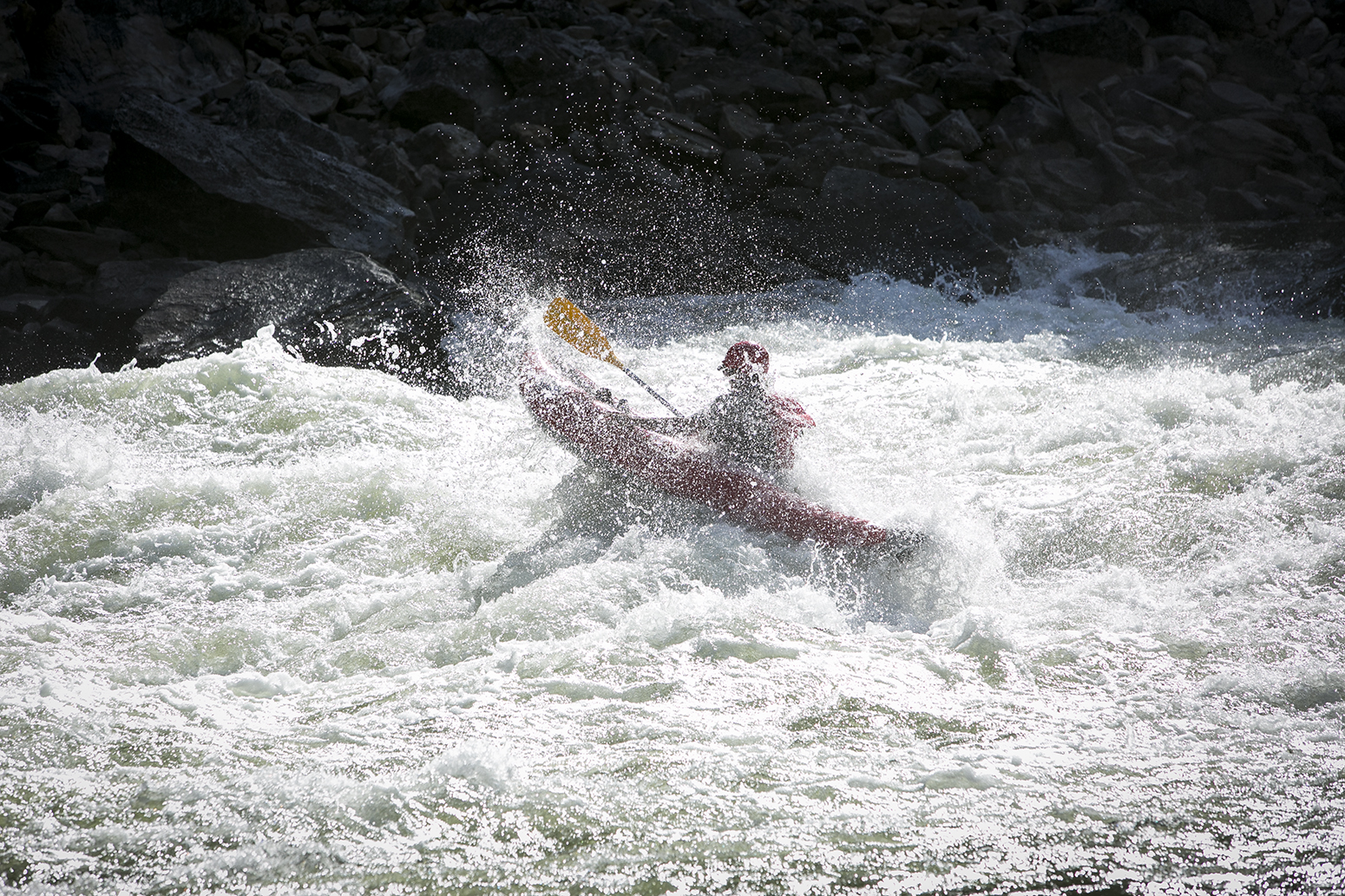 A solo ducky in the turbulent waters of Alder Rapid on the River of No Return, Summer 2015.