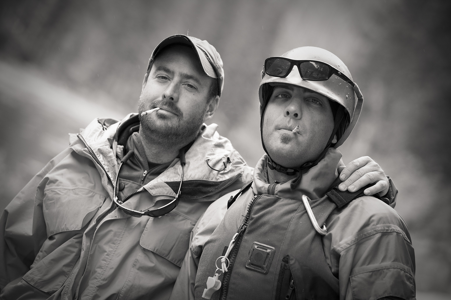Past and present river guides, the brothers Landward, on the River of No Return, Spring 2010.