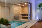 Spa room featuring cascading water, purple LED lighting and a wood clad sauna.
