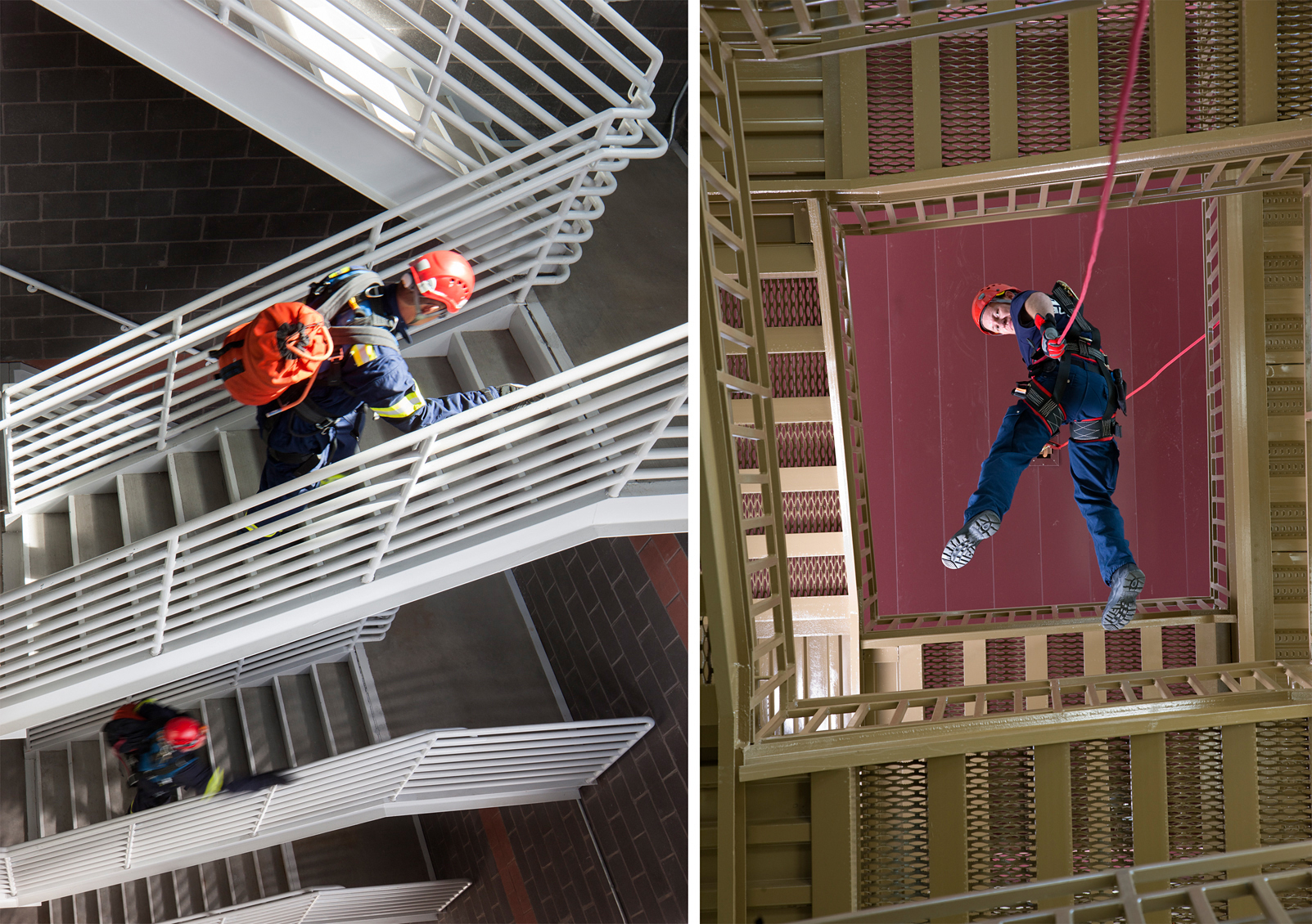 Interior views of fire station with fire men rapelling from tower and carrying packs up staircase.Architectural Photography by: Paul Richer / RICHER IMAGES