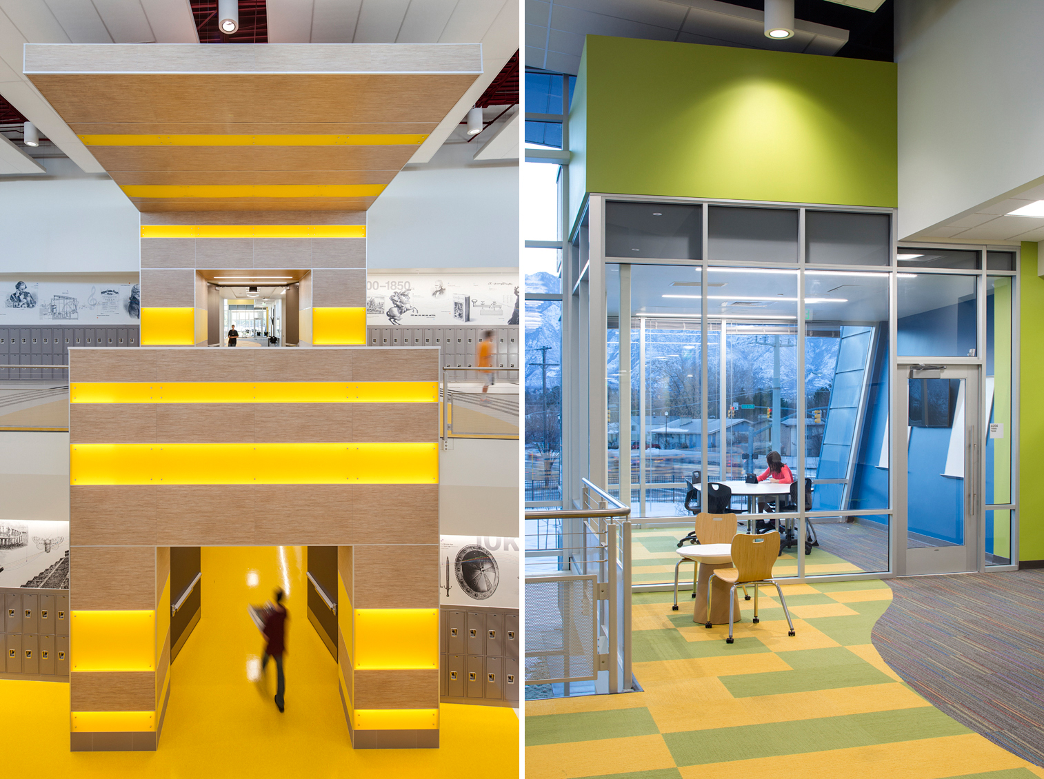 Views of students in motion and studying in colorful common spaces at Mt. Jordan Middle School in Sandy Utah for MHTN Architects / Hogan & Associates