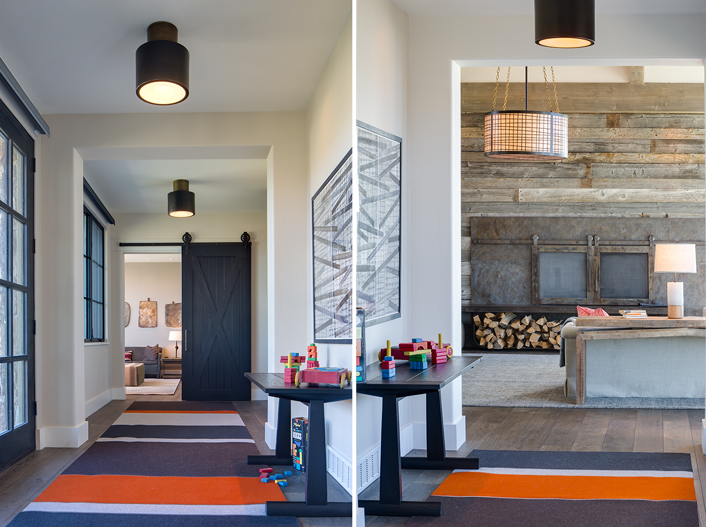 This is a montage of two photos taken in a hallway in a mountain modern residence. The hallway is loing with a carpet of orange, cream and brown striping and at one end of one photo is the living room with a custom steel fireplace and at the end of the other photo is a barn wood door on rollers and the tv room with couches and a center table.