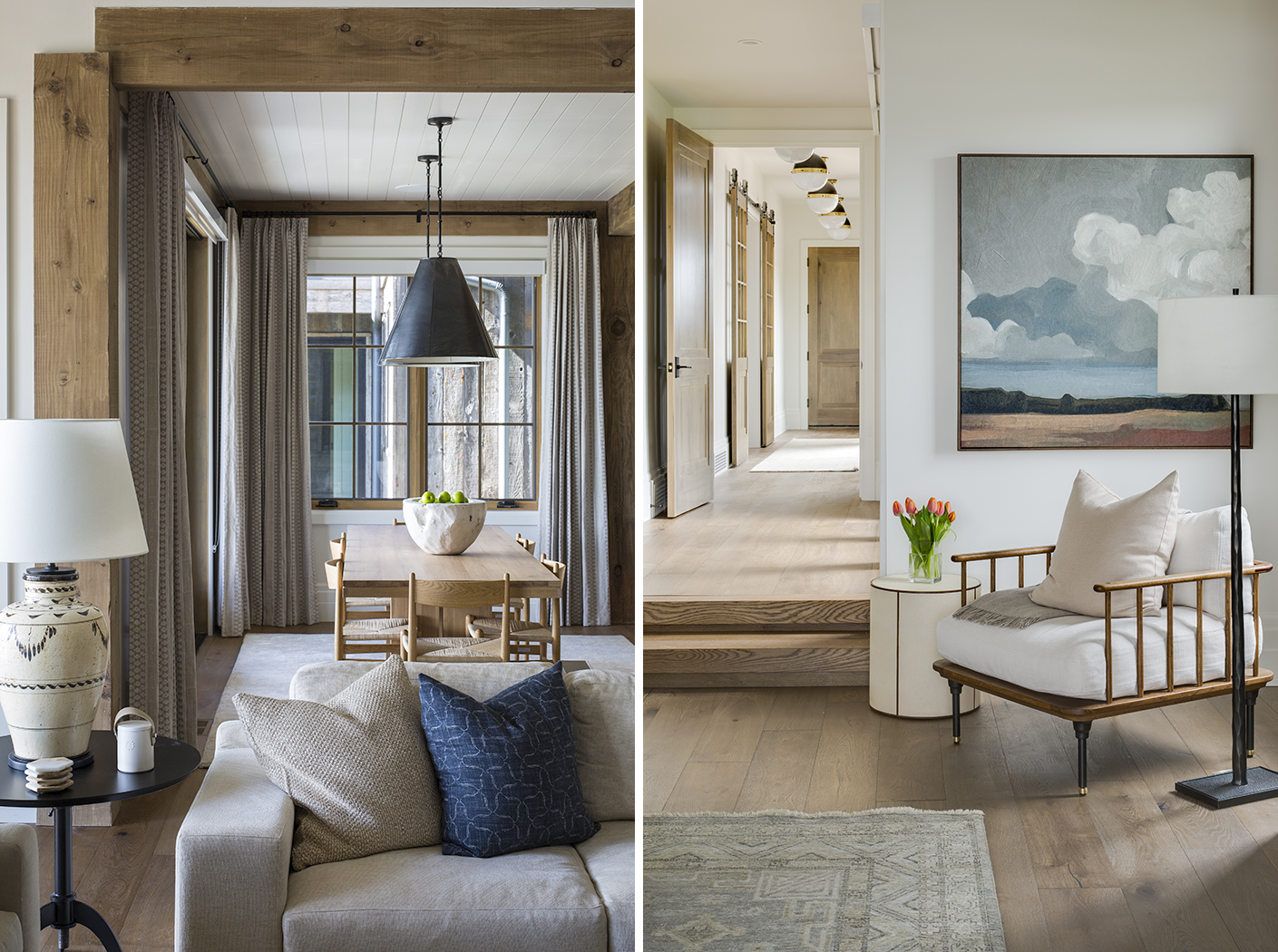 Two interior photographs showing design elements from the dining area and master bedrooms of a contemporary, mountain rustic residence in Park City, UT.