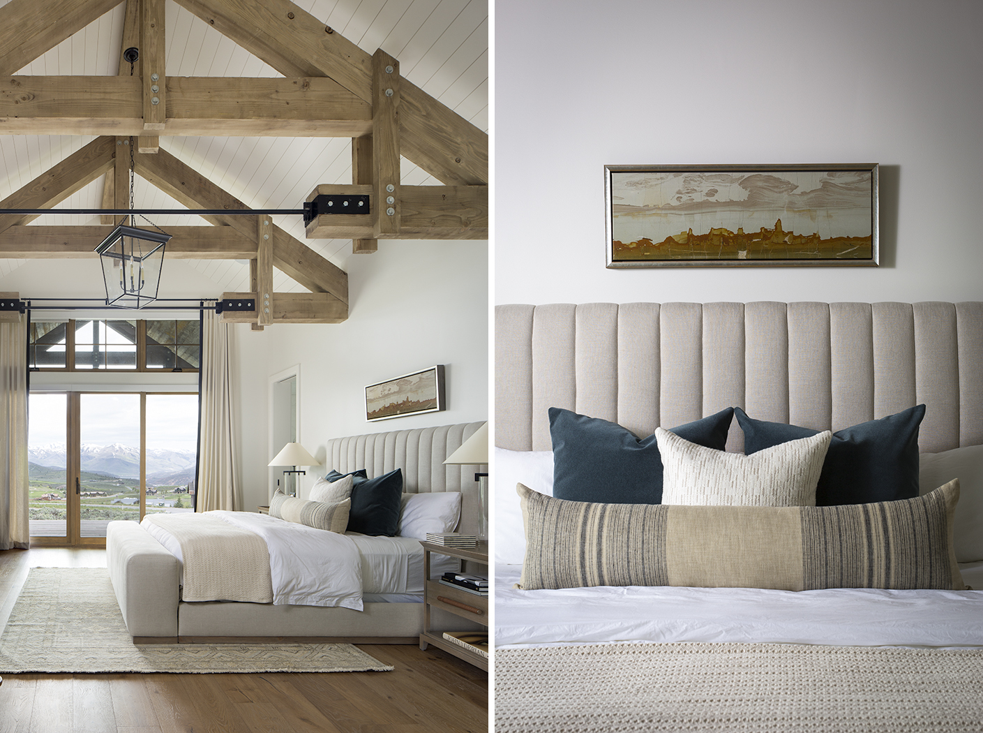 Two interior photographs showing design elements from the  master bedroom of a contemporary, mountain rustic residence in Park City, UT. The photograph on the left is an overall shot of the bedroom that shows exposed wood, beams, with vaulted ceilings and mountain views and the other photograph is a vignette of the bedding and pillows.