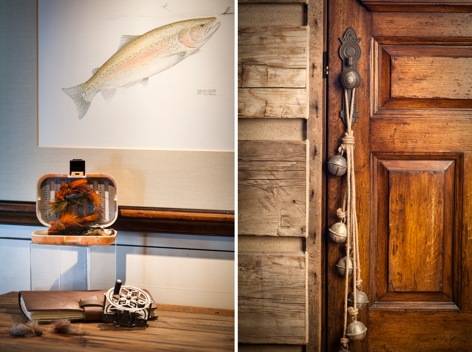 This diptic features two vignettes from a rustic log home made of reclaimed timber eat of Park City, UT. The first photo is a close up of an antique fly fishing reel on top of a wooden bureau with a hand sketched picture of a trout behind. The second is of a string of antique slay bells hanging from a wooden door .Architectural Photography by: Paul Richer / RICHER IMAGES.
