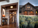 Two views of a Private Residence near Park City, UT. for Line 8 Design. One view is of the interior foyer looking up the stairs through the sliding barn wood door and the other is a sectional of the exterior at twilight with sage brush in the foreground and a warm glow of light being cast on the garage doors and illuminating from the upstairs windows.Architectural Photography by: Paul Richer / RICHER IMAGES.
