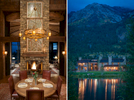 Two views of a  private residence in the Shoting Star Development in JAckson, Wyoming. One view is an interior showing the main dining room table at dusk with warm wood tones and a roaring fire in the fire place and the other is an exterior of the home at dawn taken from across the lake with reflections on the water.