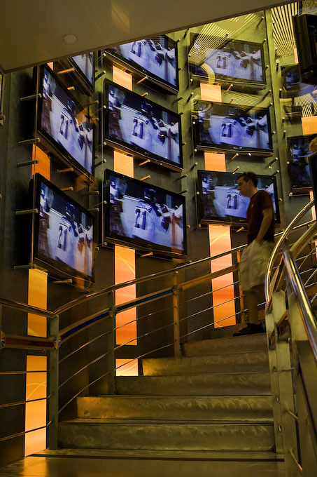 New York CityA spiral staircase leads upstairs at the {quote}NBC Experience{quote} store.