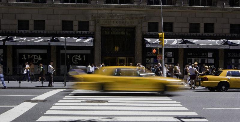 New York CityA Yellow Cab makes its way down 5th Avenue.