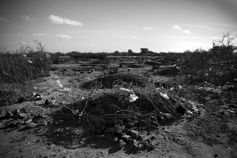 A cemetary within Dadaab refugee camp. Many refugees are  burying their dead outside of designated cemeteries and are failing to report deaths to camp authorities, who need to collect such information for disease-control purposes.