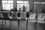 Ballot boxes in a classroom at Moi Avenue Primary School in Nairobi, Kenya on March 4th, 2013.