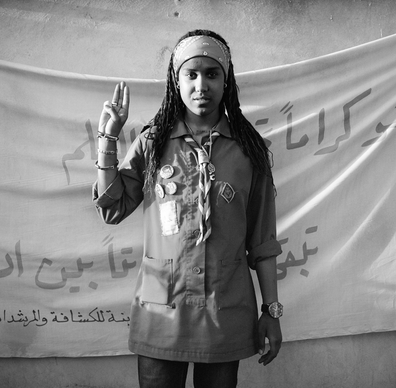 Noor Al Huda, 18, has been a girl scout in Libya for the past four years. Scouts in Libya was founded in 1954 and escaped Gaddaf's bans on independent organizations because Gaddafi himself was said to be a scout at a young age.