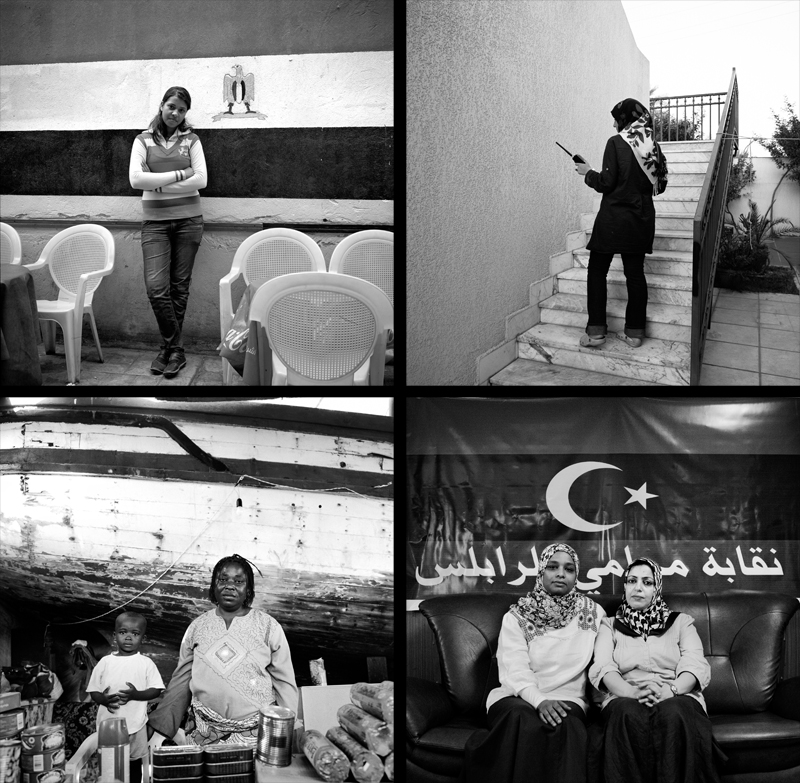 "Top Right: Salma Taghdi aka Asma Trabulsi, 22, stands at her family's house with the radio that her and her father used to listen in on the movements of Qaddafi's troops movements since the start of the Libyan Revolution in February. They recorded everything they heard in a desk calendar, writing the specific date and time. Top Left: Asmaa Samy, 18, has been involved in the demonstrations since January 28th. {quote}Many things have changed for us, we didn't used to have an outspoken role before, now we see the role of women.{quote}Bottom Right: Hweida Mahmoud Shibadi, 40 and Nabila Abdelrahman Abu Ras, 40, are both lawyers in Tripoli. Hweida passed along information regarding Gaddafi's military movements to a family member who is apart of the NTC, which resulted in NATO airstrikes. Nabila helped organize Tripoli's first lawyers' demonstration in February and then, late in pregnancy, printed revolutionary leaflets that woman tossed from speeding cars. {quote}Even if they don't give us our rights, we have the right to go out and demand them.{quote}Bottom Left: Margaret Asante, 37, is originally from Ghana and has been living in Libya for the past 27 years. She owns three import/export shops in Tripoli, bringing African items to migrants in Libya. When the fighting came to Tripoli at the end of August ""the environment totally changed, African migrants were being robbed in town,"" says Margaret. ""People came here because they thought it would be safer, but men came at night. They took people's money, cell phones, they took my car."" Margaret brought items from her stores in Tripoli and set up a shop at Janzour Port for Migrants. ""If I didn't come, people weren't going to eat."" Margaret is pictured with her two-year-old son Joshua Bafo Asante."