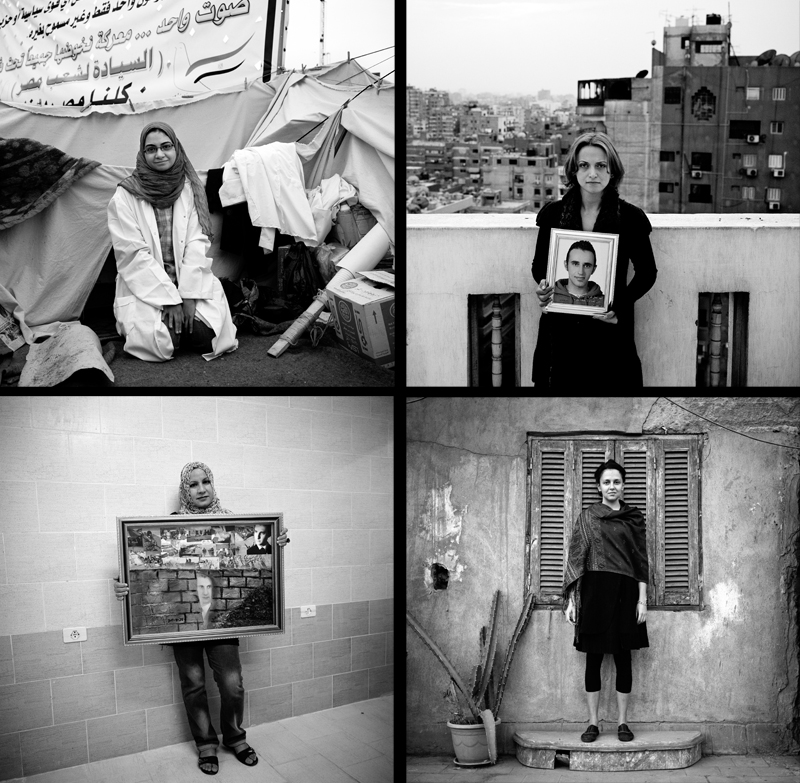 "Top Right: Zahraa Kassem, 33, is the sister of Khaled Said who was beaten to death by Egyptian security forces and is said to be {quote}the spark{quote} for the Egyptian Revolution. A Facebook group titled {quote}We are all Khaled Said,{quote} brought attention to his death and contributed to growing discontent in the weeks leading up to the Egyptian Revolution which began in February. Zahraa began protested in June 2010, after the death of her brother in their hometown of Alexandria. Top Left: Dalia, 28, is a pharmacist and has spent the past week volunteering in Tahrir Square at a makeshift clinic. She said, {quote}Military attacked the makeshift hospital with teargas.{quote}Bottom Right: Jasmina Metwally, 29, is an artists based in Cairo. Originally her work focused on conceptual painting, but during the revolution, she began doing video work with a documentary purpose. ""There are things happening around us, I needed to do things for a purpose and it needed to reach an audience. Art is more conceptual; documentary is reaching more people, to rescue the revolution. I kept it straightforward, I was trying to send a clear message.{quote}Bottom Left: Nadia El Bergli, 28, is the manager of {quote}Grains of Hope{quote} which was created on the 1st of July. The group is comprised predominantly of women who make food for the rebels on the front line, approximately 300 meals a day. Nadia's younger brother Abdel Adem was detained by troops loyal to Colonel Muammar Gaddafi on April 4th. She holds a collage that she made depicting her brothers time in detention."