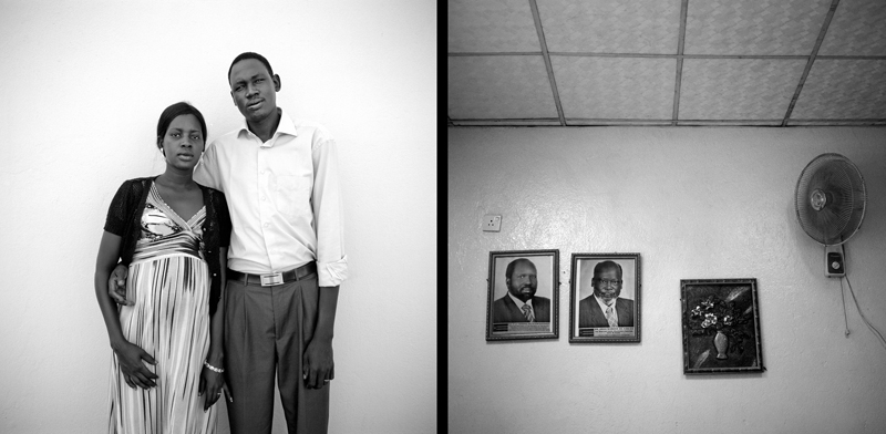 """Akoch Manhim and Aerl Makemy, 29 and 28, met in Australia, where they were both living as refugees. Akoch was born in Tonj, and moved away from his rural home when he was 12 because the army was looking for young boys to join to fight.  He left his family and travelled to Mayom Kbum camp with neighbors, Akoch was one of the original """"Lost Boys"""" a phrase coined to describe children living on their own during the war. He then moved to a refugee camp in Kenya in 1998 called Kukuma. """"It was terrible, there were terrible insecurities, and locals shot refugees at night. There was no health system and always a lack of water. We had to que every morning for water."""" """"When you are born you become more confident for the decisions you have to make in life."""" A church in Australia raised money for my flight to Australia, so I went. """"It was weird to be in such a developed place, while people at home suffered. I was proud to be there, to have made it there thought. Some priveledged people don't look back, but after being educated abroad I think I have some knowledge I can share with my people. Akoch spent the majority of his life living away from his family. He saw them once in 1998, 2003, 2007 and once in 2010. Akoch's wife, Aerl was born in Wau, she wasn't sought to pick up a gun because she was a girl. Her father joined the movement in 1986, """"When our town was attacked, he would flee with us, then return to fight."""" Aerl moved around with her mother to Ethiopia, Kenya, and ended up in Australia in 2002, her mother stayed in South Sudan. Akoch and Aerl met in Sydney, Australia, they quickly bonded over issues effecting the people of Sudan, and dreamed one day of returning to their home country together. They returned to South Sudan and began planning their wedding, their hope was to get married July, 9th, the day of independence, but it wasn't possible do to possible insecurities. Akoch and Aerl were married in Juba on June 25th, with both of their families present. Akoch intends """