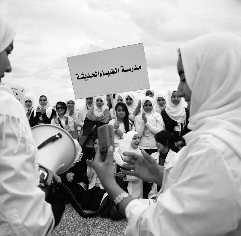 On March 8th, recognized as International Women's Day women's groups and ngo's gathered in the capitol of Libya to celebrate. {quote}The Voice of Libyan Women{quote} and {quote}Phoenix Libya{quote} groups were present, all dressed in white to signify peace. Women and girls chanted slogans, gave speeches and sang songs to celebrate.