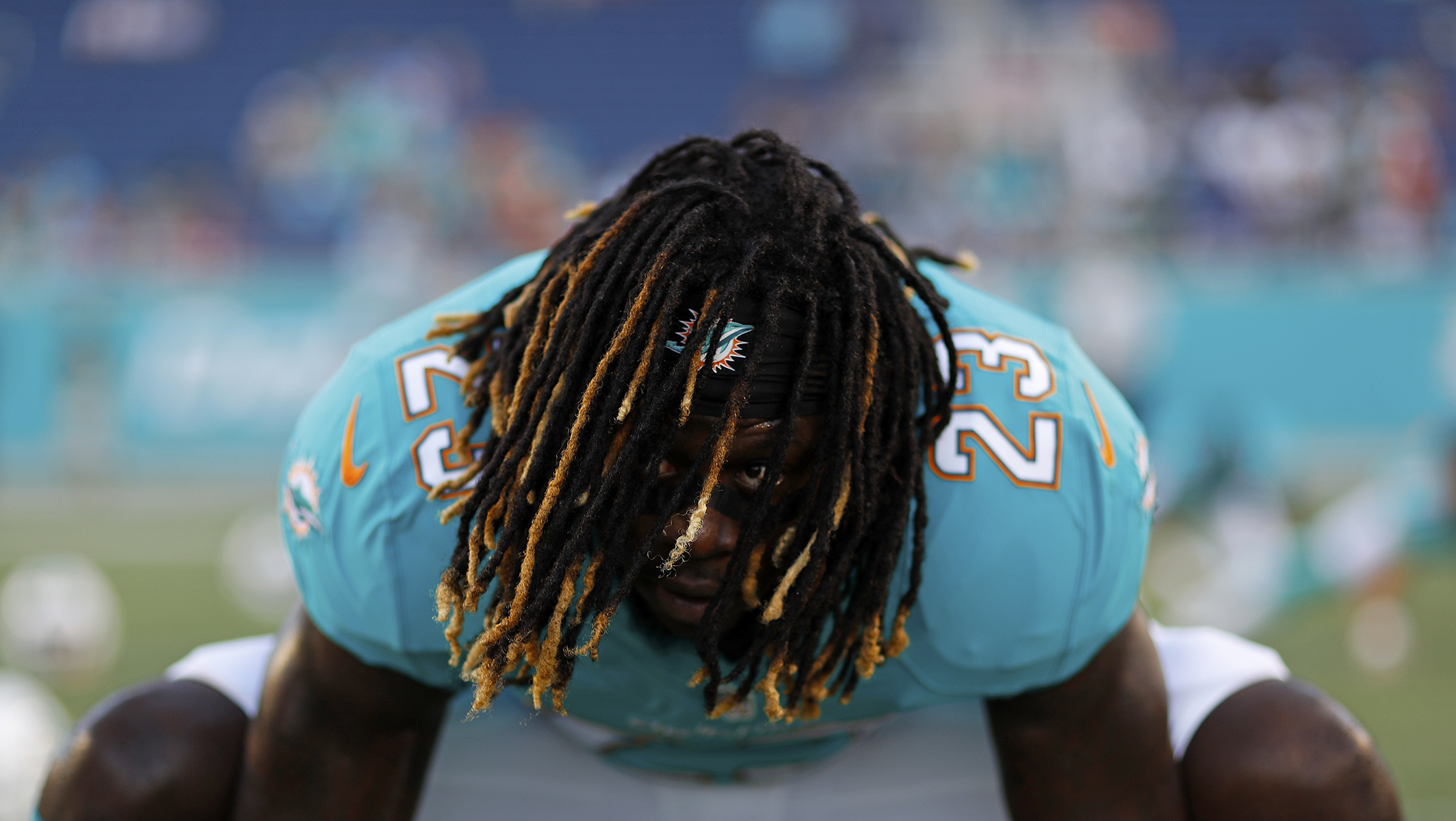 Miami Dolphins running back Jay Ajayi (23) poses for a photo in Orlando.