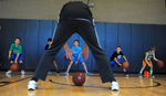 6/28/17-- WESTWOOD-- Dribbling with their heads up at the Brian Scalabrine Academy at Lifetime Athletics on Wednesday, from left: Michael McElmoyle, 11, of Hyde Park; Amit Dubey, 11, of Needham; Jason Savenor, 11, of Needham; Nick Levin, 11, of Needham; and Luke Green, 7, of Westwood. [Daily News and Wicked  Local Staff Photo/Art Illman]