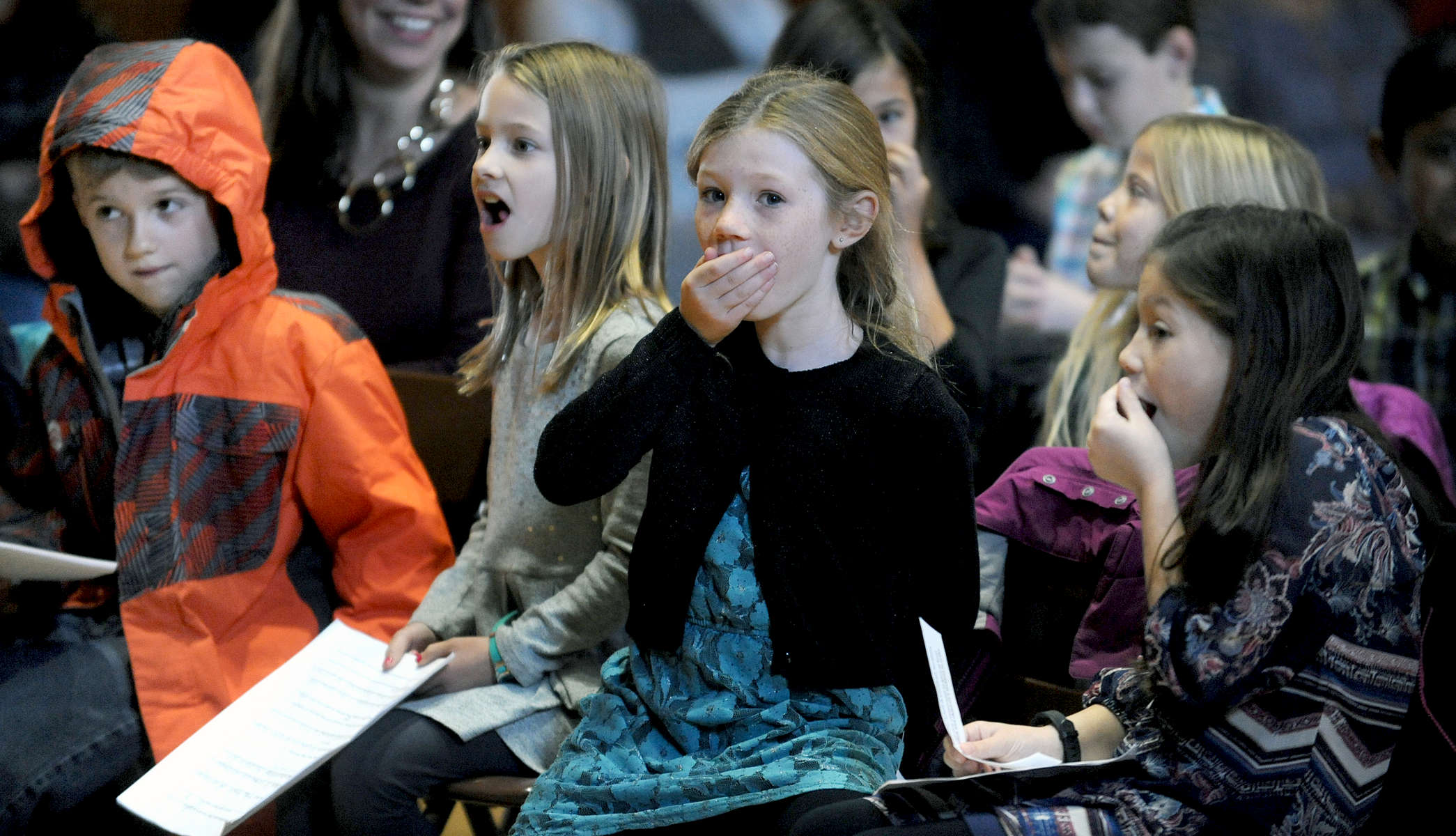 11/30/17--  ARLINGTON--   Stratton School third graders react to a tie vote on Article 1 - Public Water Fountains, at the Town of Stratton Annual Town Meeting in Arlington Town Hall Thursday morning. From left: Charles Dobbs, Lydia Rauh, Anna Vakoc, and Bridget Precourt. [Wicked Local Staff Photo/Art Illman]