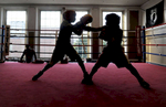 Sparring at the Framingham Police Athletic League Danforth Gym in Framingham.Daily News Staff Photo/Art Illman