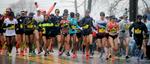 4/16/18-- HOPKINTON--  The 2018 Boston Marathon Elite Women division starts off in Hopkinton. [Daily News and Wicked Local Staff Photo/Art Illman]