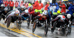 4/16/18-- HOPKINTON--  The 2018 Boston Marathon Men's Push Rim Whelchair racers start off in Hopkinton. [Daily News and Wicked Local Staff Photo/Art Illman]