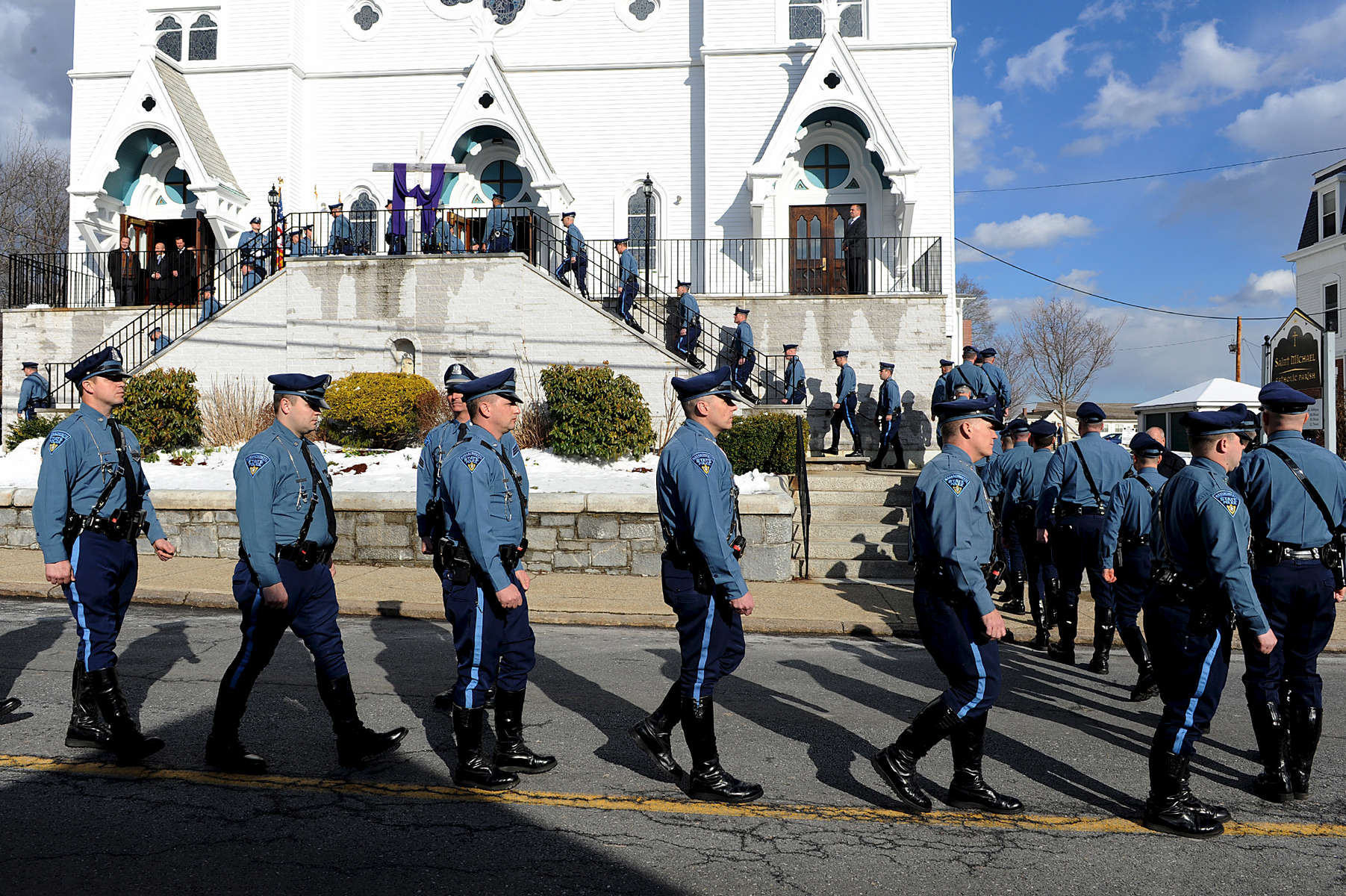 3/21/16-- HUDSON-- Hundreds of law enforcement officers marched at the wake for State Trooper Thomas Clardy.Daily News and Wicked Local Staff Photo/Art Illman