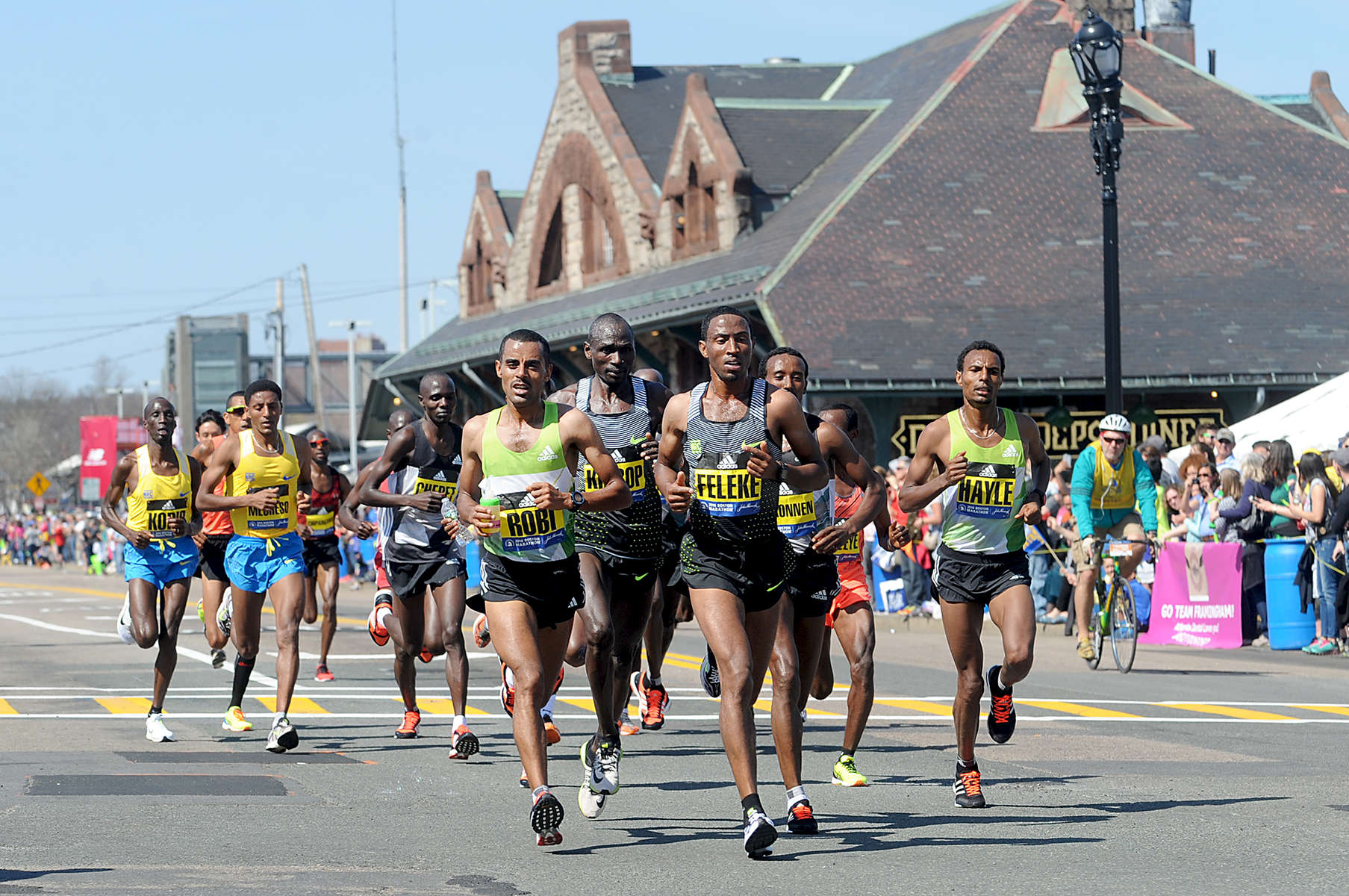 4/18/16-- FRAMINGHAM-- The elite men run through downtown Framingham Marathon Monday.Daily News and Wicked Local Staff Photo/Art Illman