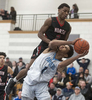 2/18/19-- FRANKLIN--  Franklin High School basketball captain Jalen Samuels, (#1) had to contend with North Andover's Darren Watson on his back Monday in a  61-58 victory over North Andover. [Daily News and Wicked Local Staff Photo/Art Illman]