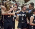 3/5/19-- WORCESTER-- Medway's Rachel Costello (#1) is consoled by coach Joe Iannone after losing to Groton-Dunstable in the Central Mass. Div.2 semi finals Tuesday evening at Clark University. [Daily News and Wicked Local Staff Photo/Art Illman]
