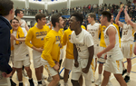 3/8/19-- WORCESTER--  Acton-Boxborough boys Central Mass. Div. 1 champions celebrate at a packed Worcester State University Friday night after defeating Algonquin 52-41.  [Daily News and Wicked Local Staff Photo/Art Illman]